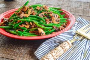 Haricot Verts with Bacon and Portobello Mushrooms