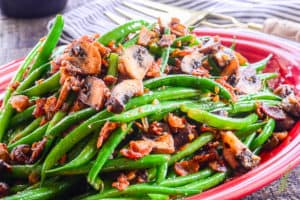 Sense & Edibility's Haricot Verts with Bacon and Portobellos