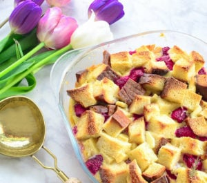 Sense & Edibility's Raspberry White Chocolate Bread Pudding