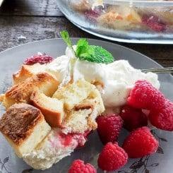 Sense & Edibility's Raspberry White Chocolate Bread Pudding