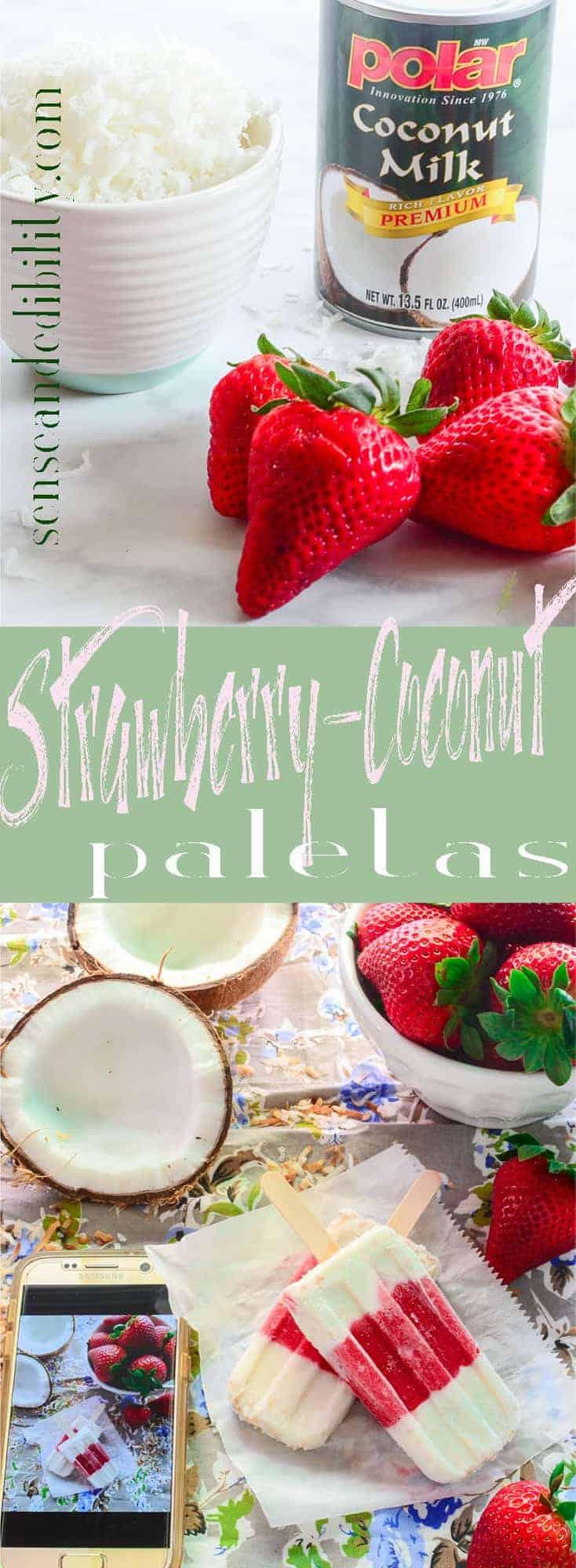 Sense & Edibility's Strawberry-Coconut Popsicles Pin