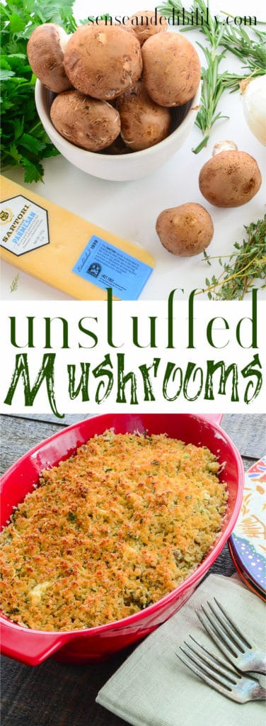 Sense & Edibility's Unstuffed Mushrooms PIN
