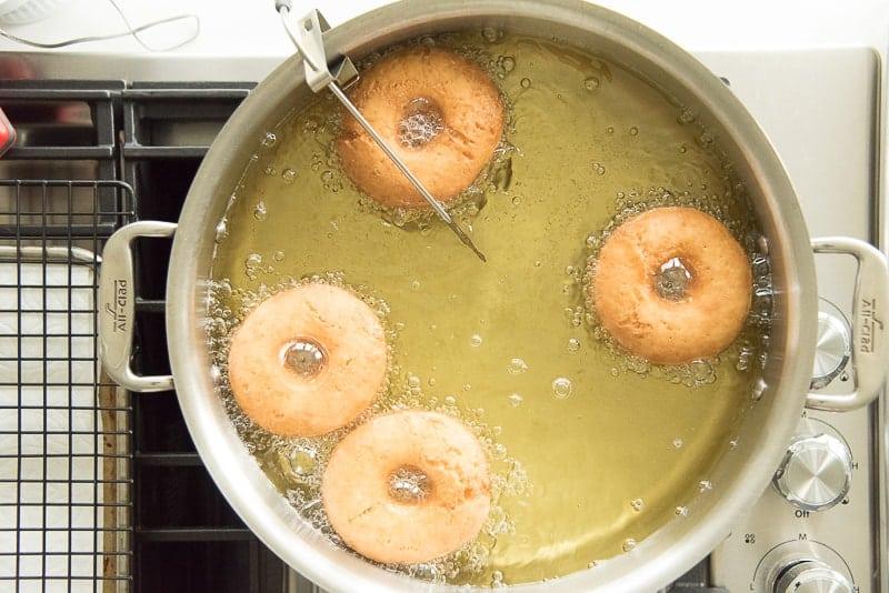 Easy cake donuts frying in oil