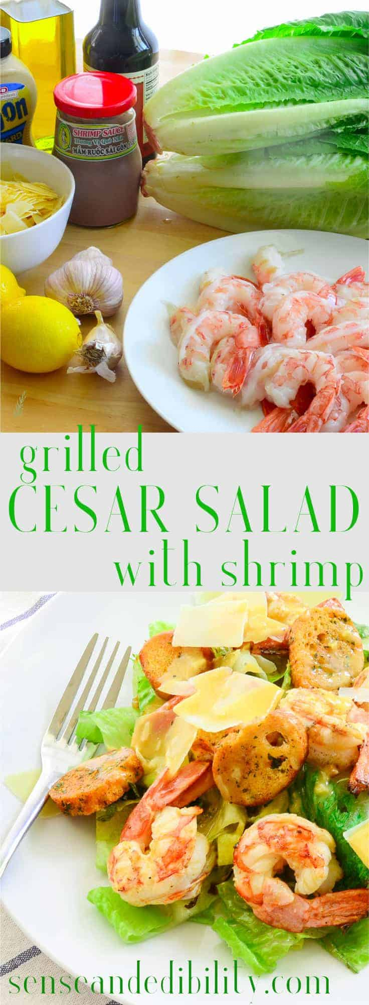 Sense & Edibility's Grilled Cesar Salad with Shrimp Pin
