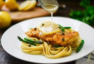 Chicken Piccata Fettuccine with Asparagus