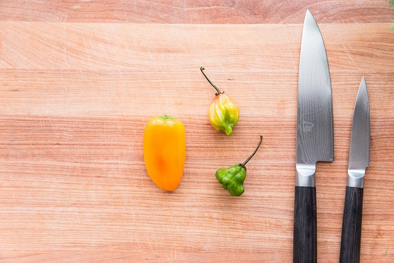 The types of peppers used in sofrito: aji dulces and sweet mini pepper