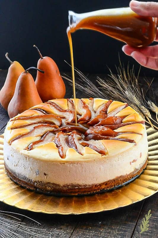 Sense & Edibility's Spiced Pear Topped Cinnamon Cheesecake