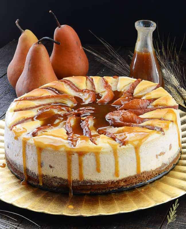 Sense & Edibility's Spiced Pear Topped Cinnamon Cheesecake