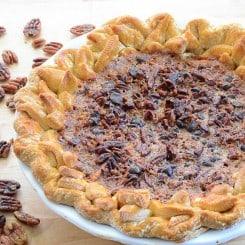 Sense & Edibility's Maple Bourbon Chocolate Pecan Pie