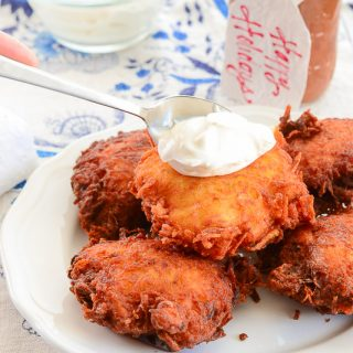 Puffed Potato Pancakes with Sour Cream and Apple Butter (Latkes)