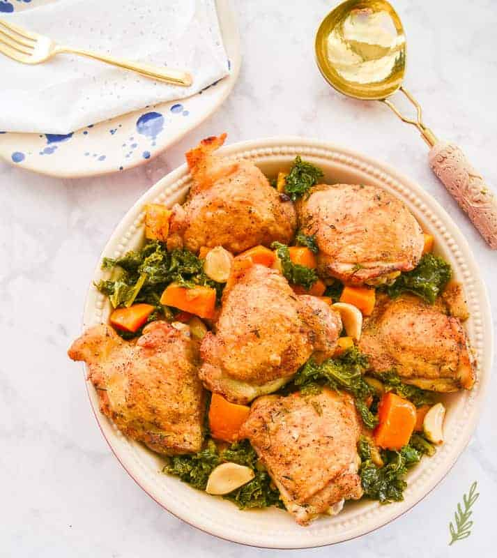 Sense & Edibility's 40 Clove Chicken with Kale and Butternut Squash