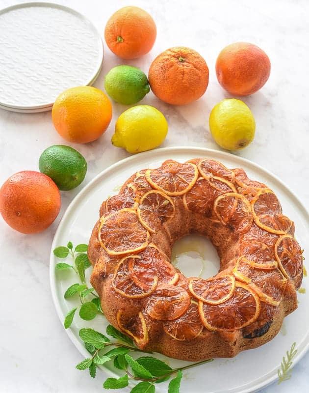 Sense & Edibility's Caramelized Citrus Topped Ginger Sour Cream Coffee Cake