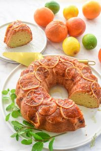 Caramelized Citrus Topped Ginger Sour Cream Coffee Cake with a slice removed