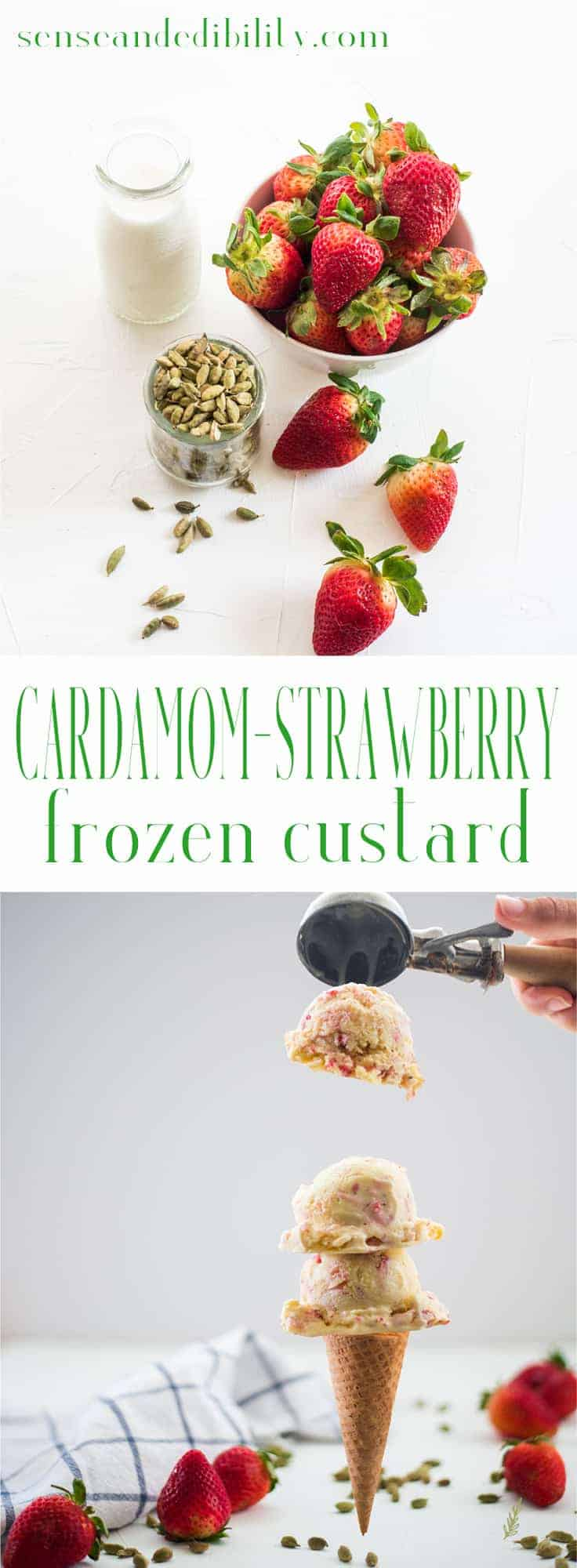 Sense & Edibility's Cardamom Strawberry Frozen Custard