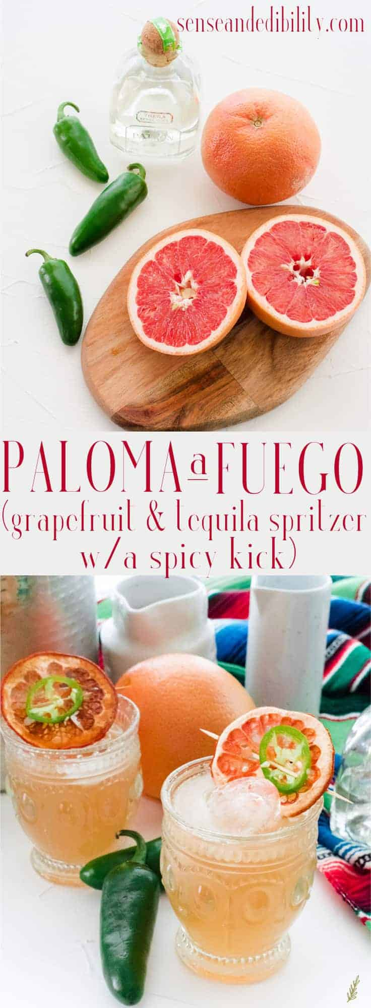 My version of the crisp Mexican cocktail, Paloma, has a fiery kick thanks to jalapeños! #paloma #tequila #cocktails #libations # Mexican #cincodemayo #senseandedibility via @ediblesense