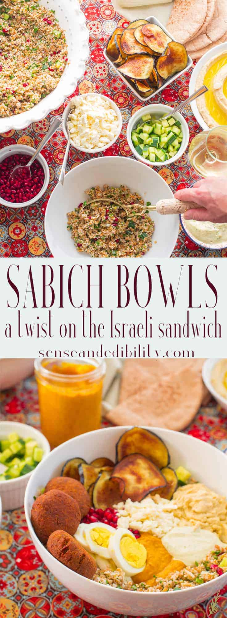 Sabich sandwiches are a favorite in the Middle East. I've made them into a hearty vegan bowl perfect for your next lunch. #sabich #Israeli #MiddleEastern #Meditteranean #eggplant #hummus #tahini #tabouleh #amba #mango #pickledmango #bulgur #sabichsandwich #lunch #middays #entrees #vegan #vegetarian via @ediblesense