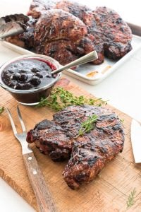 Blueberry Balsamic BBQ Sauced Grilled Pork Chops