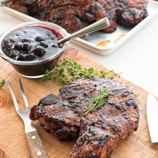Sense & Edibility's Grilled Pork Chops w-Blueberry Balsamic BBQ Sauce