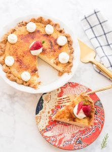 An overhead image of a slice of Crème Brûlée Pie