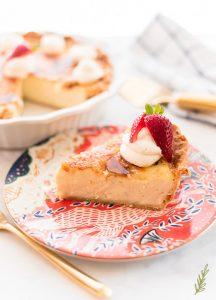 Side angle of a slice of Crème Brûlée Pie