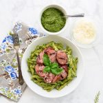 Sense & Edibility's Penne in Pesto Sauce with Grilled Sausage