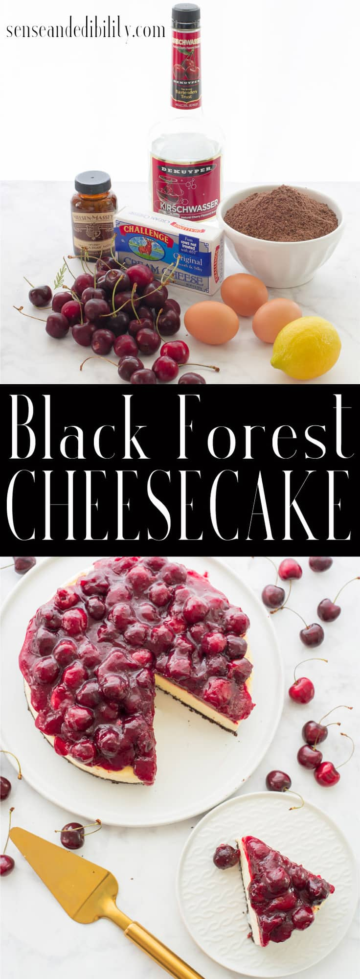 Mash up two desserts with this creamy cheesecake topped with a made from scratch cherry topping. #blackforestcake #cheesecake #kirschtorte #dessert #cake #weekendbakingproject via @ediblesense