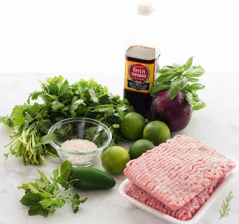 Ingredients needed to make Larb Moo: cilantro, mint, basil, sticky rice powder, jalapeno, limes, red onion, fish sauce, and ground pork