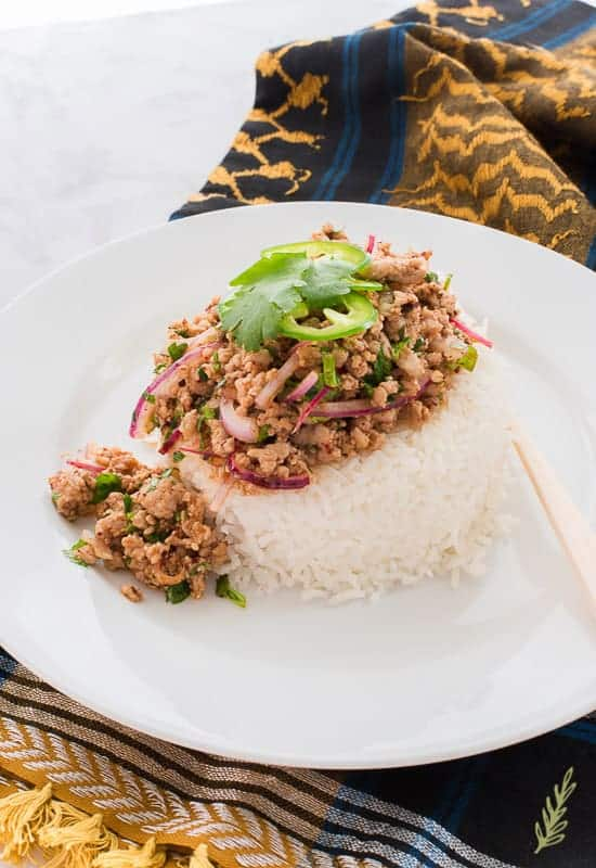 A white plate is topped with steamed white rice and larb moo. The larb is garnished with cilantro and jalapeno slices