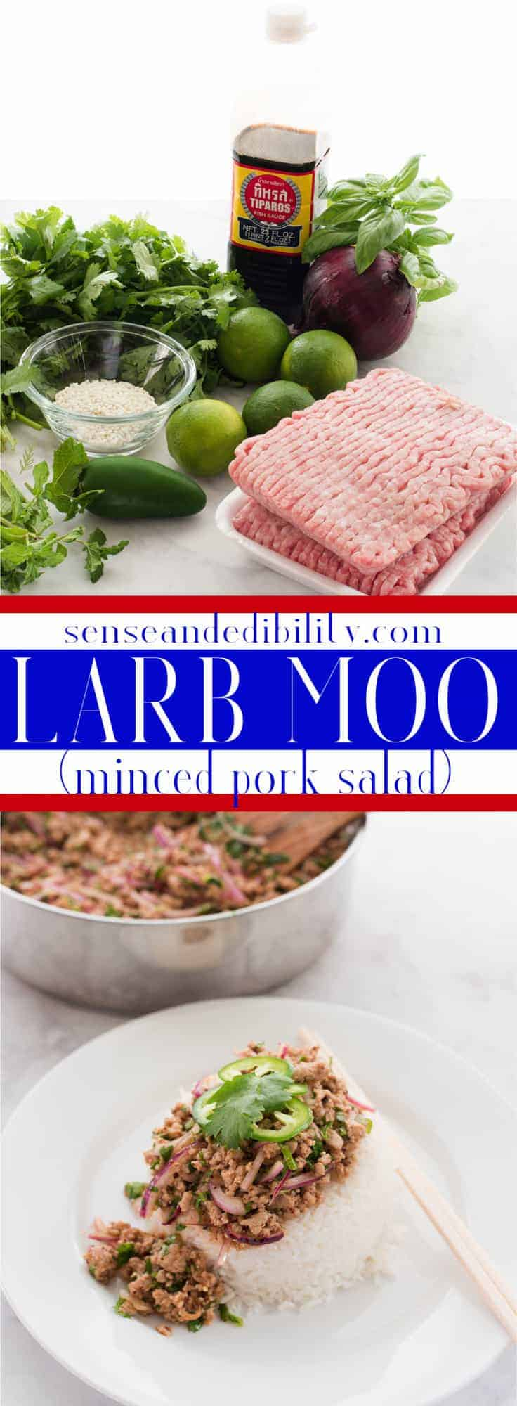 Larb Moo is an easy-to-make Laotian minced meat salad. Bright and refreshing flavors are spiced with kiss of pepper. #larbmoo #groundpork #laotian #thai #vietnamese #cambodian #easytomake #quickdinner via @ediblesense