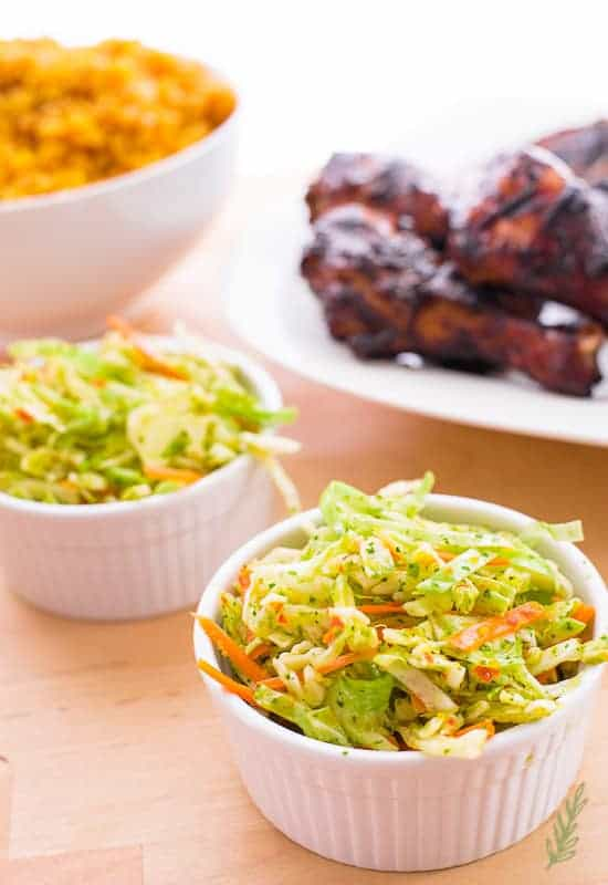two dishes of Peruvian Coleslaw a quick Labor Day side dish