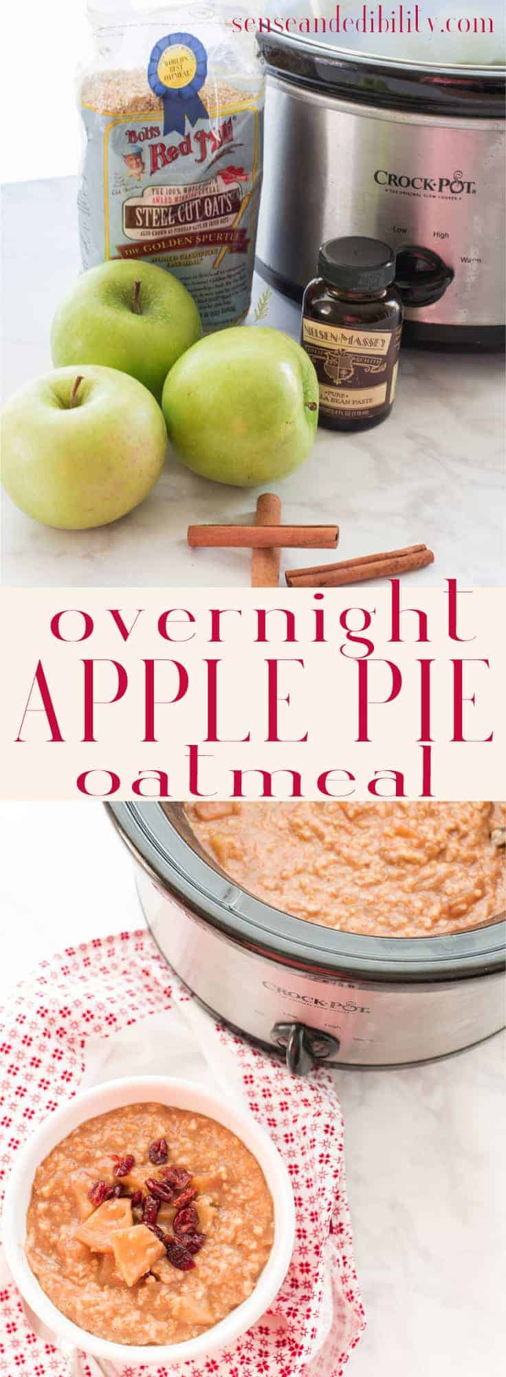 Sense & Edibility's Overnight Apple Pie Oatmeal Pin
