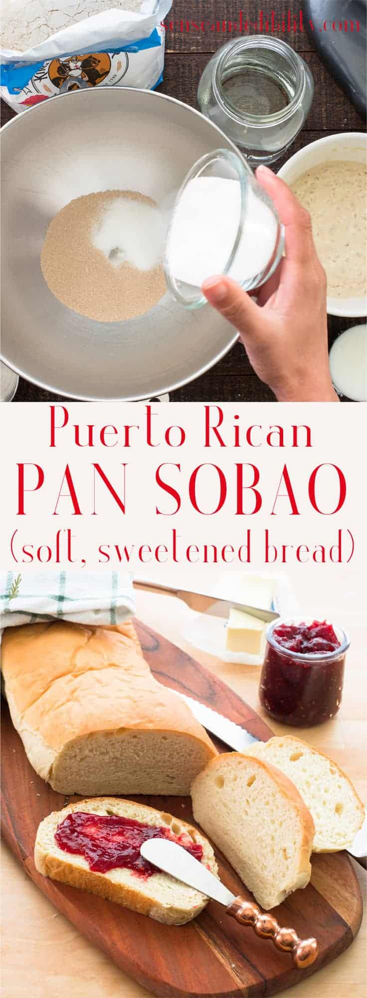 A soft, sweet bread, Pan Sobao is one of Puerto Rico's prized baked goods. It won't last long once you sniff that mouth-watering aroma, so this recipe makes two loaves! #pansobao #PuertoRicanbread #bread #baking #breadmaking #sandwichbread #senseandedibility  via @ediblesense