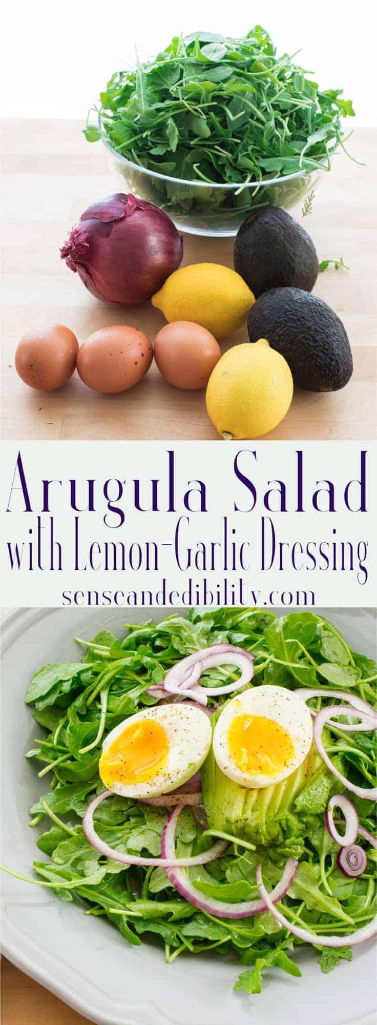Sense & Edibility's Arugula Salad with Lemon-Garlic Dressing Pin