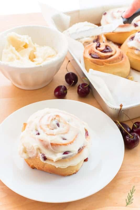 Sense & Edibility's Cherry Sweet Rolls with Cream Cheese Icing