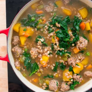 Butternut Stew with Sausage, Kale, and Farro