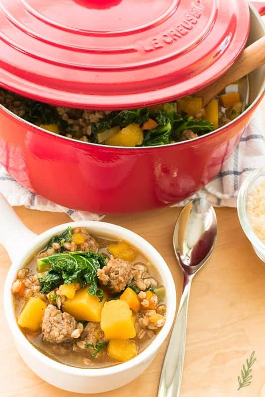 A white bowl of Italian Harvest Butternut Stew in front of a red pot filled with the rest of the stew. A silver spoon is next to the white bowl.