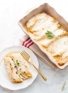 Manicotti Stuffed with Pumpkin-Ricotta in Brown Butter-Sage Béchamel Sauce