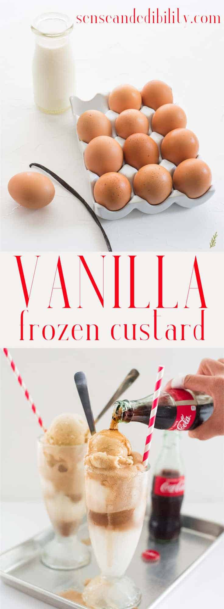 Vanilla Frozen Custard needs to be in your dessert repertoire. Easy vanilla custard is slow-churned for the creamiest ice cream you've ever tasted. #frozencustard #icecream #vanillaicecream #dessert #sweets #frozendessert #easy #icecreamfloats #cokefloats #rootbeerfloats #alamode #icecreamsundaes #bananasplit #browniesundae #piealamode #cobbler via @ediblesense