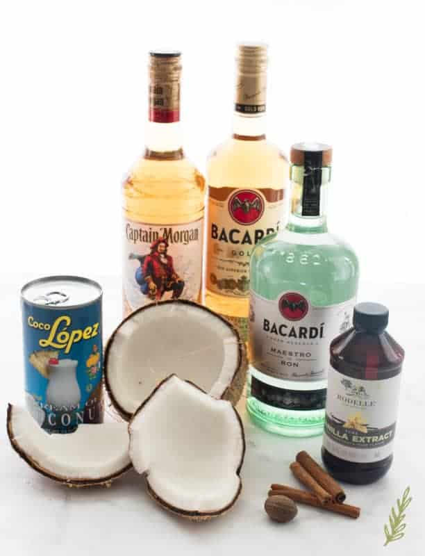 The ingredients used to make Coquito