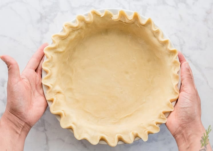 Mealy pie dough in a pie plate held by two hands.