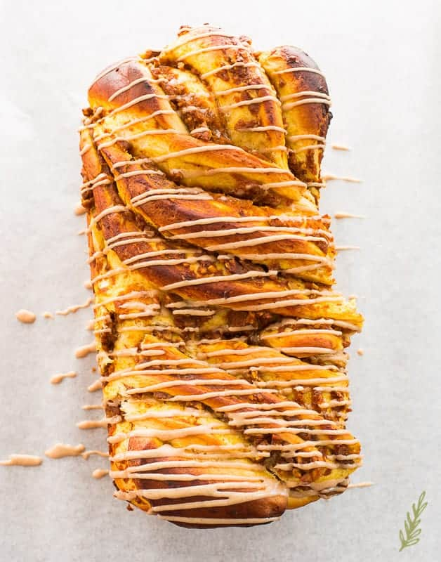 Sense & Edibility's Pumpkin-Pecan Babka with Cinnamon-Maple Glaze
