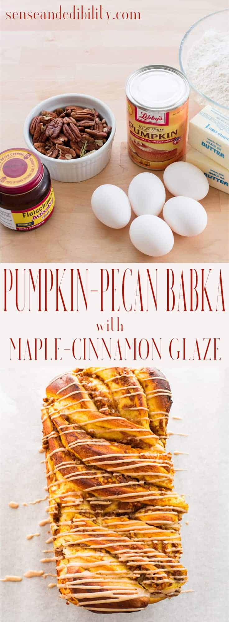 Sense & Edibility's Pumpkin-Pecan Babka with Cinnamon-Maple Glaze Pin