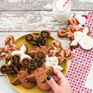 Gingerbread Reindeer Cookies with Royal Icing