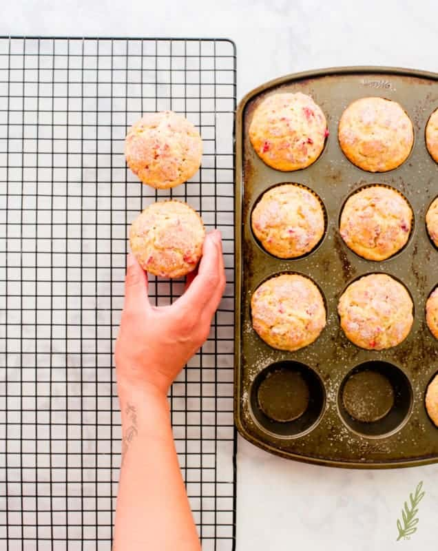 A hand transfers the baked Vanilla-Cranberry Muffins from the muffin tin to a cooling rack.
