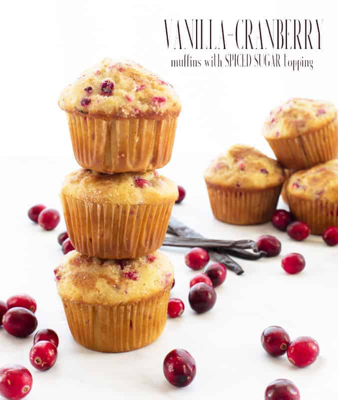Vanilla-Cranberry Muffins taste like a hug on a cold winter's day. Made with fresh, tart cranberries and pure vanilla. The muffins bake up spiced and tender. #vanillacranberrymuffin #bakingwithfreshcranberries #cranberry #freshcranberries #otherwaystousefreshcranberries #vanillamuffins #cranberrymuffins #breakfastmuffins #sweetmuffins #winterbaking #holidaybaking #thanksgivingbaking #christmasbaking #baking #freezerfriendly #kidfriendly #makeaheadbaking #quickbreads #fruitmuffins via @ediblesense