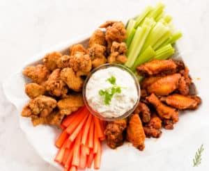 Sense & Edibility's Buffalo Wing Platter with Blue Cheese Dip