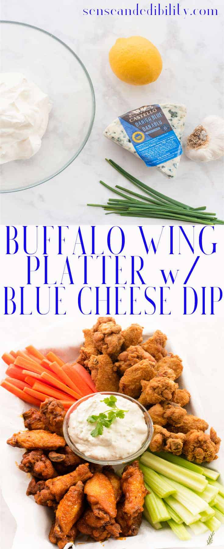 Sense & Edibility's Buffalo Wing Platter with Blue Cheese Dip Pin