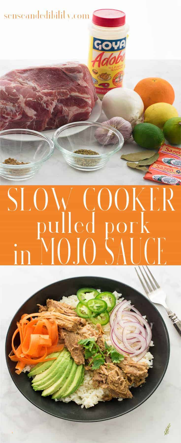 Let your slow cooker do all the work to create this flavorful Pulled Pork in Mojo Sauce recipe. Fresh citrus juice, flavorful spices, and aromatics create an easy protein which can be served dozens of ways. #pulledpork #mojosauce #slowcooker #easymeal #dinner #maindish via @ediblesense