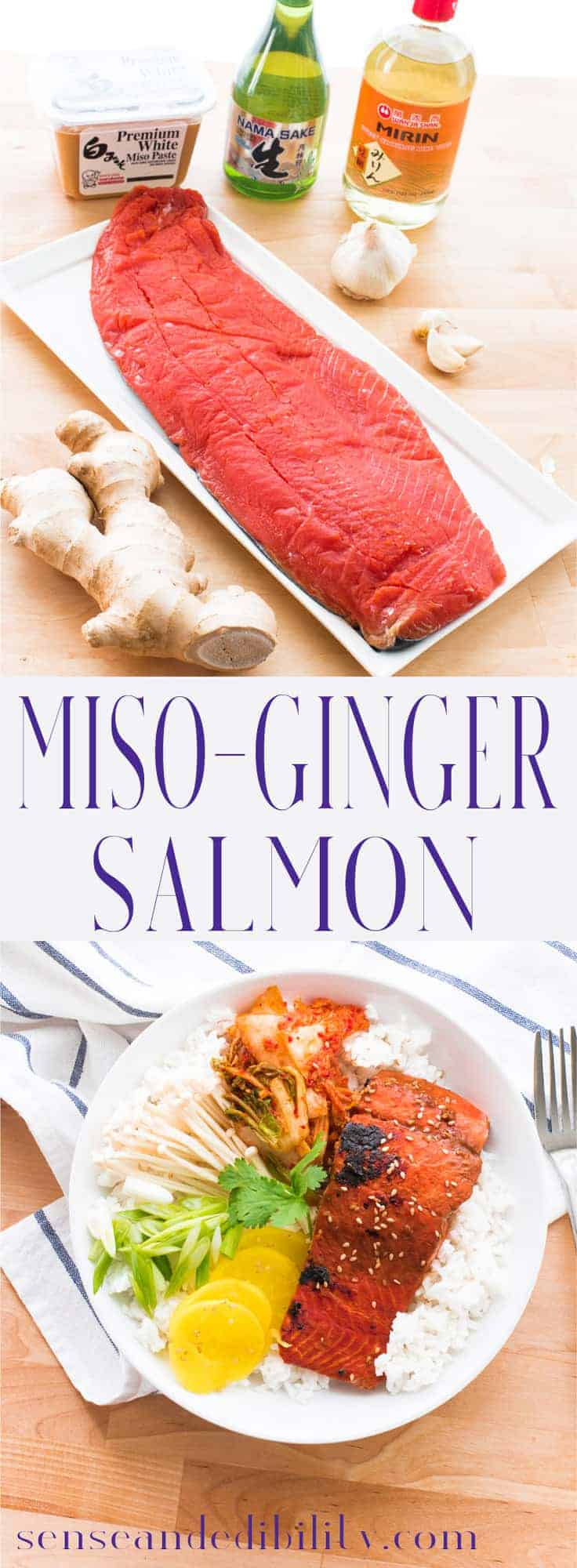 Miso and ginger create a quick marinade for wild salmon. Grill, pan-sear, bake, or broil these umami-packed filets for a quick, easy meal. #misoginger #salmon #quickmeals #asianrecipe #salmonmeal #salmonrecipe #mirin #sake #whitemiso #cookwithmiso #seafoodrecipe #dinner #entree #panseared via @ediblesense