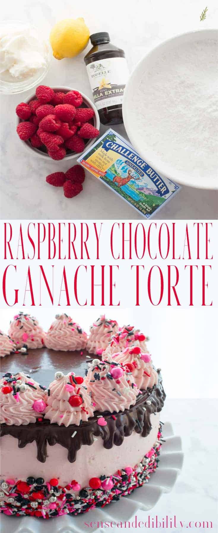 Sense & Edibility's Raspberry-Chocolate Ganache Torte Pin